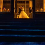 bride and groom at wynyard hall colour image using blue and yellow filters creative photography